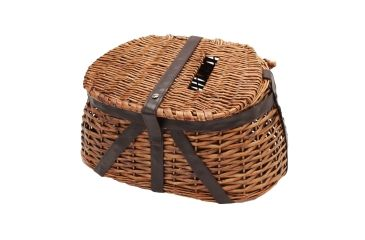 River's Edge Wicker and Faux Leather Antiqued Tightly Woven Fishing Creel 184624