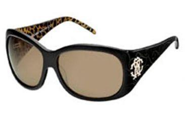 Roberto Cavalli Calcedonio Sunglasses Black / Leopard Print Inside Temples Frame, Brown Lenses 05J