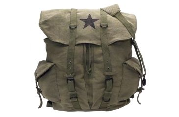 47915a864 Rothco Vintage Weekender Canvas Backpack with Star, Olive Drab,  9158-OliveDrab