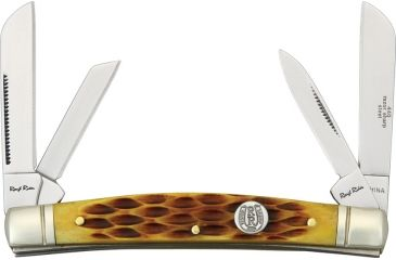 Rough Rider Congress Fold knife, SS twin sheepsfoot, pen and coping blade, Amber jigged bone handles RR053