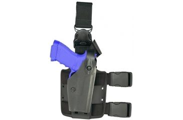 Safariland 6005 Quick Release Leg Holster w/Shroud Single Strap, Right Hand, STX Black - Glock 17/22