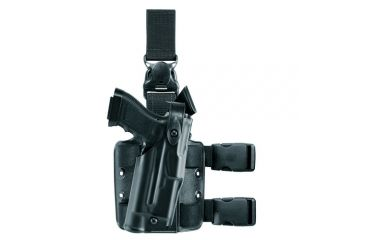 Safariland ALS Tactical Holster w/ Quick Release Leg Harness, Right Hand, STX FDE Brown Molle locking System receiver Plate and Locking Fork 6305-73-551-MS15-MS18