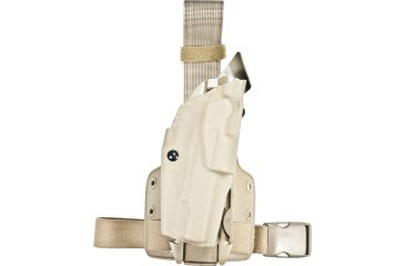 Safariland ALS Tactical Thigh Holster, Right Hand, STX FDE Brown Leg Shroud Single Strap Molle locking System receiver Plate and Locking Fork 6355-77-551-SP10-MS15-MS18