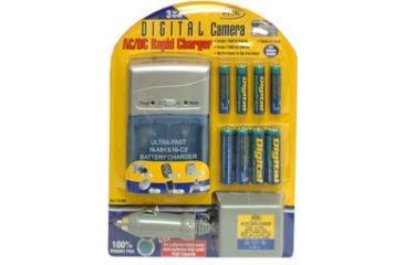 Sakar Rapid w/ 4AA & 4AAA Batteries plus Car cord Rechargeable Battery Charger Kit CH-3988