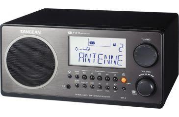 Sangean AM/FM RDS Digital Tuning, Clock/Alarm, Multi Function Remote, Black WR-2BK