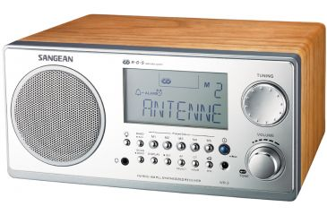 Sangean AM/FM RDS Digital Tuning, Clock/Alarm, Multi Function Remote, Walnut WR-2WL
