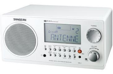 Sangean AM/FM RDS Digital Tuning, Clock/Alarm, Multi Function Remote, White WR-2WH