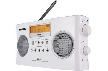 Sangean AM/FM Stereo RDS Digital Tuning, Portable Receiver, Alarm, White PR-D5