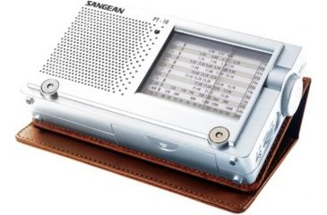 Sangean AM/FM Stereo/SW/LW Analog Tuning, World Times, Compact, Silver PT-10