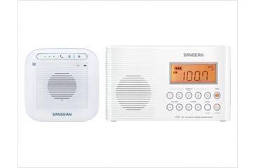 Sangean AM/FM/WX Waterproof Shower Radio And Bluetooth Speaker, White, Small