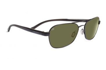 Serengeti Volterra Sunglasses - Satin Black/Gray Stripe Frame, 555nm Polarized Lenses 7593