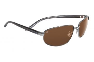Serengeti Trapani Sunglasses - Shiny Gunmetal/Gray Stripe Frame, Drivers Polarized Lenses 7598