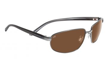 Serengeti Trapani Sunglasses - Shiny Gunmetal/Gray Stripe Frame, Drivers Lenses 7599