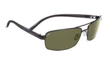 Serengeti Volterra Sunglasses - Shiny Silver/Black Ivory Frame, 555nm Polarized Lenses 7595