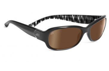 Serengeti Chloe Sunglasses - Shiny Black Zebra Frame, Drivers Gold Polarized Lenses 7623