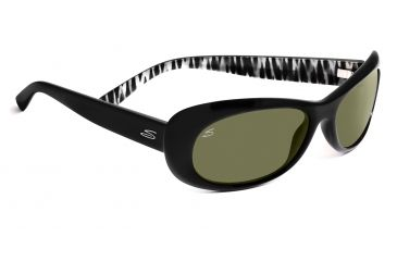 Serengeti San Remo Sunglasses - Satin Black/Gray Stripe Frame, 555nm Polarized Lenses 7604
