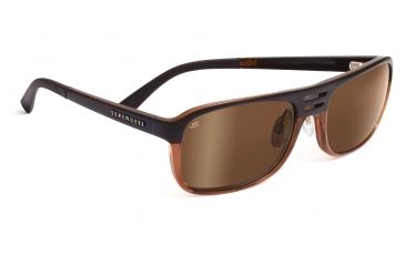 Serengeti Lorenzo Sunglasses - Satin Dark Brown/Shiny Cognac Frame, Drivers Gold Polarized Lenses 7650