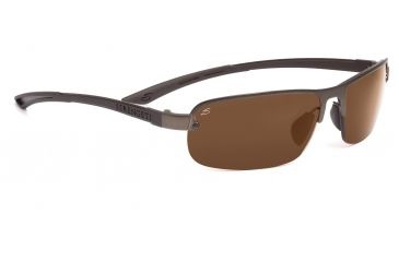Serengeti Lorenzo Sunglasses - Satin Dark Brown/Shiny Cognac Frame, Drivers Gold Polarized Lenses 7650