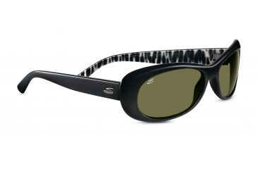 Serengeti Bella Sunglasses - Shiny Black Zebra Frame, 555nm Polarized Lenses 7629