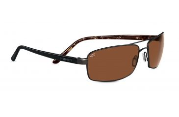 Serengeti Agazzi Sunglasses - Satin Dark Brown Frame, Polar PhD Drivers Gold Lenses 7565