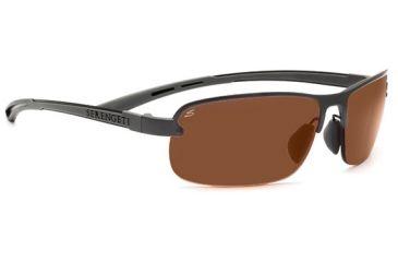 Serengeti Strato Single Vision Rx Sunglasses Shiny Dark Gunmetal Frame 7682
