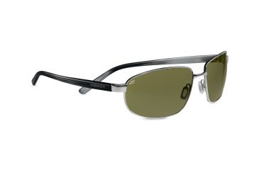 Serengeti Trapani Sunglasses - Shiny Silver Smoke Stripe Frame, 555nm Polarized Lenses 7602