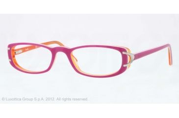 Sferoflex SF1550 Single Vision Prescription Eyeglasses C569-51 - Lillac Top On Orange Frame, Demo Lens Lenses