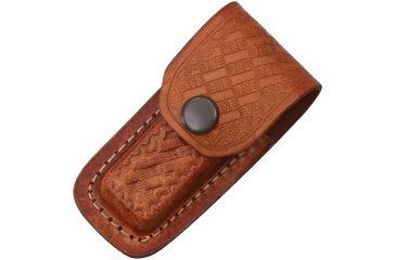 Sheath Folding Knife Sheath, Brown leather w/ embossed basketweave, 3-3.5in closed SH1130
