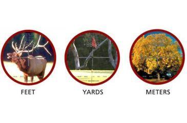 Simmons 1000 Rangefinder displays distance in Feet, Yards or Meters
