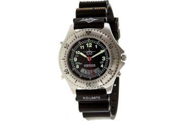 Skytimer 529635002 Quartz Diver Mens Watch - Silver Bezel, Black Strap, Black Dial, Plastic Strap