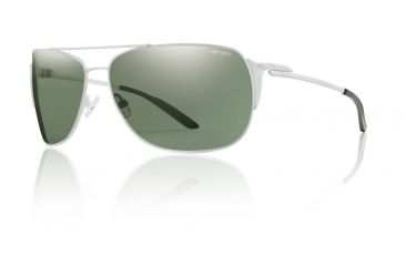 Smith Optics Foley Sunglasses - Matte White Frame, Polarized Gray Green Carbonic TLT FOPPGYWT