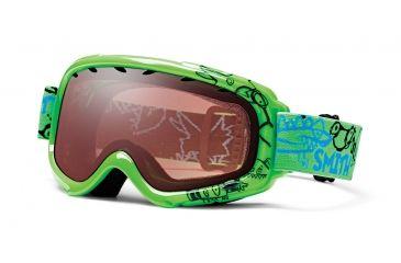 Smith Optic Gambler Graphic Ski Goggles - Neon Green Dinomonsters Frame, Ignitor Mirror Lens
