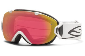 Smith Optics I/OS Snow Goggles - White Frame w/ Blackout and Red Sensor Lens IS7BKWT13