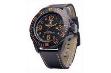 Smith & Wesson Water Resistant EGO Watch w/ Leather Strap, 52mm, Black/Orange SWW-LW6058