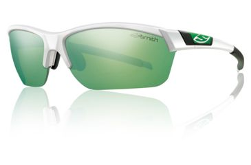 Smith Optics Approach Max Sunglasses - White Frame w/ Green Mirror/Ignitor/Clear Lens APMPCGNMWT