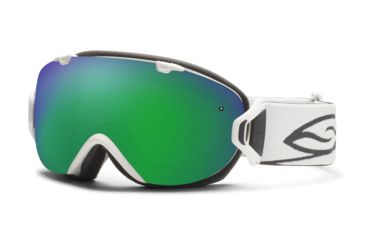 Smith Optics I/OS Snow Goggles - White Frame w/ Green Sol X and Red Sensor Lens IS7NXWT12