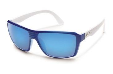 Suncloud Polarized Optics Colfax Sunglasses - Blue White Frame and Blue Mirror Polarized Polycarbonate Lens S-CFPPUMBLW