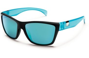 Suncloud Polarized Optics Speedtrap Sunglasses - Matte Black Teal Frame and Teal Mirror Polarized Polycarbonate Lens S-SPPPTLMBT