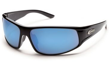 Suncloud Polarized Optics Warrant Sunglasses - Black Frame and Blue Mirror Polarized Polycarbonate Lens S-WAPPUMBK