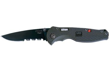 SOG Flash I Knife w/ PS Fold 2.5in. Steel Blade and GRN Handle, Hardcased BLK TiNi Finish, Black TFSA97-CP
