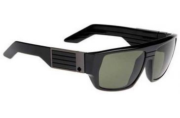 Spy Optic Blok Sunglasses Shiny Black Frame Grey Green Polarized Lenses