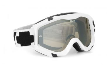 Spy Optic Klutch MX Goggles w/ White Sabbath Frame & Clear Smoke Silver Mirror Antifog Lens w/ Posts