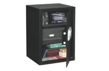 Stack-On Ex-Large Personal Safe with Biometric Lock, 2 Shelves, Black, Medium PS-20-B-12-DS