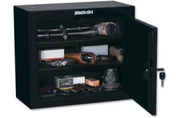 Stack-On Pistol/Ammo Steel Cabinet w/ 2 Removable Shelves, Black GCB-900