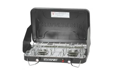 Stansport Two Burner Stove, Piezo, with Drip Pan 48251