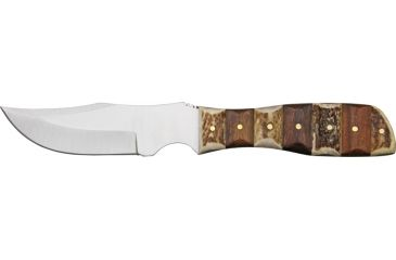 Steel Stag Finger Grip Skinner Fixed Knife, stainless modified skinner blade, Grooved stag and dark brown wood handle SS7020