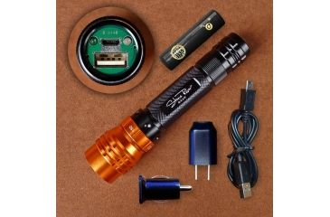 Stone River Gear Adjustable Focus Rechargeable USB Flashlight,Black/Orange SRG3RUSB