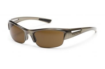 Suncloud Finish Line Sunglasses with Nickel Frames, Brown Lenses
