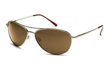 Suncloud Patrol Sunglasses with Gold Frames, Brown Lenses