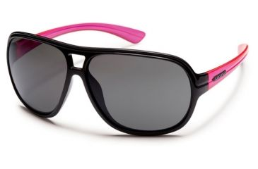 Suncloud Polarized Optics Wingman (New) Sunglasses - Black/ Neon Pink Temple Frame, Gray Polarized Polycarbonate Lenses S-WGPPGYPK